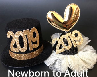2019 Hat,Black glitter cone hat,Kids Baby New Years Photo Prop,Elastic headband,2019 Top Hat,gift for grand daughter,New Years hat,Gold hat