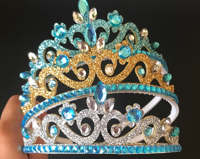 Elsa Crown,Cinderella Crown,Elsa Crown Headband,Elsa Elastic headband,Frozen Themed Birthday,Frozen Themed Party,birthday crown,Blue Crown