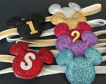 Mickey Elastic Headband,Minnie Mouse Headband,First birthday,Minnie Ears,Mickey Mouse ears,Mickey Ears,Birthday favor,party favor,mickey