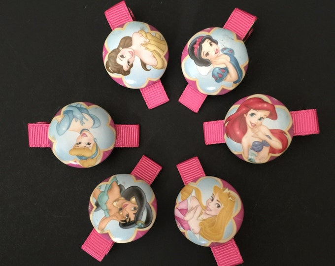 SALE!!!,Disney Princess Hair Clip Set,Disney Princess Hair Clip,Disney Character Hair clip,Disney Princess Alligator Clip,Alligator Clip Set