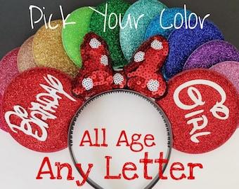 Birthday Minnie Ears,Porka dots Red Bow Minnie Ears,Customized Mickey Ear,Personalized  Ear,Minnie Elastic Headband,Baby Minnie Ear,Mini ear