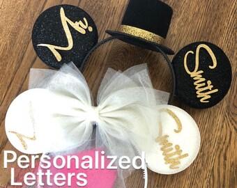 BRIDE & GROOM Mouse Ears,Wedding Minnie ears,Anniversary ears,White Bride Minnie Ears,Personalized Minnie ears,Mickey Ears Headband,custom