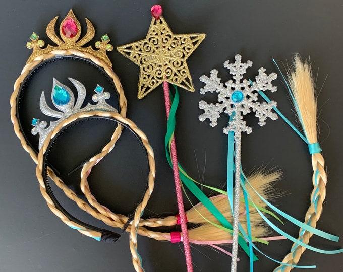 Elsa Crown Wig Set,Anna Crown,Elsa Necklace,Earrings,Bracelet,Ring,Frozen,disney princess crown,Elsa Elastic headband,Birthday,Elsa outfit