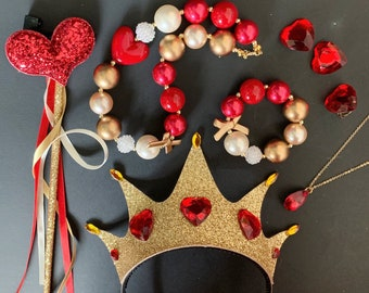 Queen Of Hearts Crown Set,Black Crown,Alice in wonderland Queen Crown,Queen Of Hearts Costume,Queen of heart,Red Queen Crown Headband,Devil
