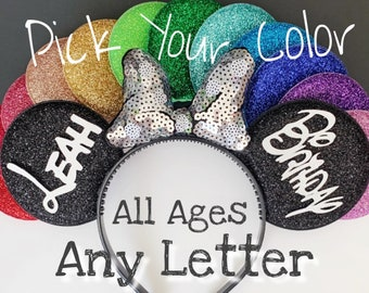 Silver Birthday Minnie Ears,Porka dots Minnie Ears,Customized Mickey Ear,Personalized  Ear,Minnie Elastic Headband,Baby Minnie Ear,Mini ears
