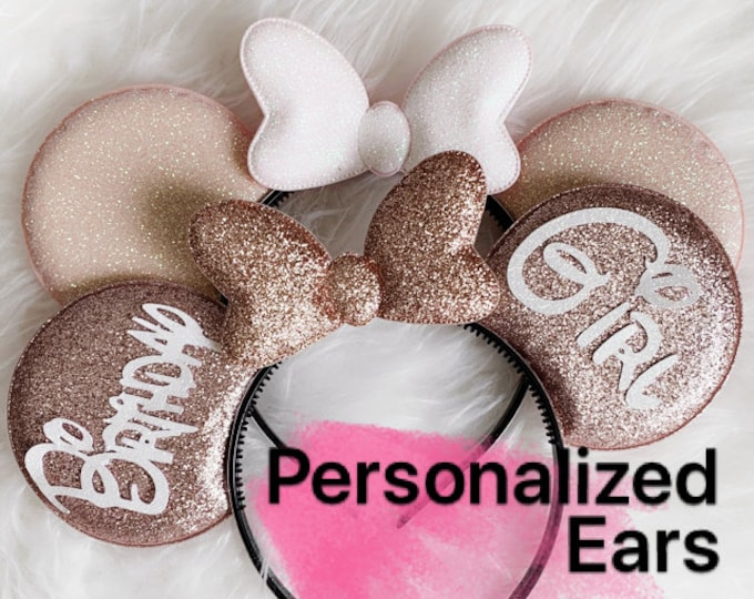 Rose gold Minnie Ear,Customized,Personalized Mickey Ear,Birthday Ear,Minnie Elastic Headband,headband with name,monogram,personalized gift