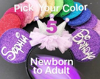 Birthday Minnie Ear,Purple Mickey Ear,Disney Minnie Birthday Hat,Personalized ear,Princess Sofia Crown,Minnie Elastic Headband,Customized