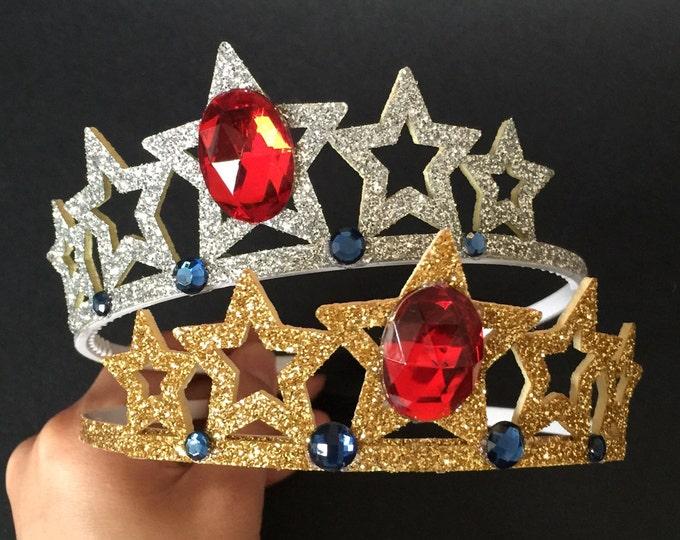 Wonder Woman Headband,Wonder Woman Crown,Wonder Woman tiara,Wonder Woman accessory,Wonder Woman costume,party favor,Super Hero headband,