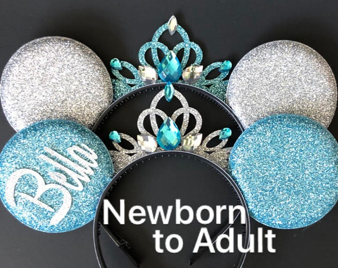 Elsa Minnie Ears,Cinderella Minnie Ears,Personalized Minnie Ears,Customized Ears,Tiara Minnie Ears,Princess Ears,Elsa Mickey ears,Blue ears
