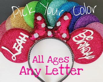 Birthday Minnie Ears,Hot Pink Porkadots Minnie Ears,Customized Mickey Ear,Personalized  Ear,Minnie Elastic Headband,Baby Minnie Ear,Mini ear