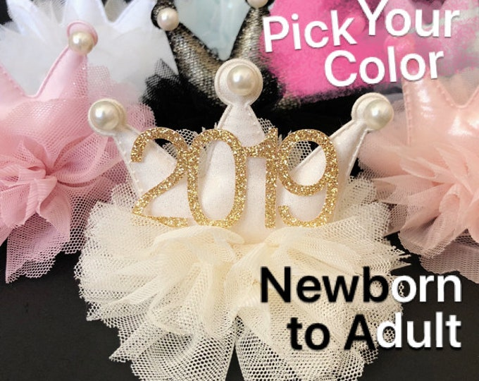 New Years Eve Crown,Baby New Years Eve Crown,Newborn New Years Eve Elastic Headband,2019 crown,Happy New Year Crown,2019 Family photo prop,