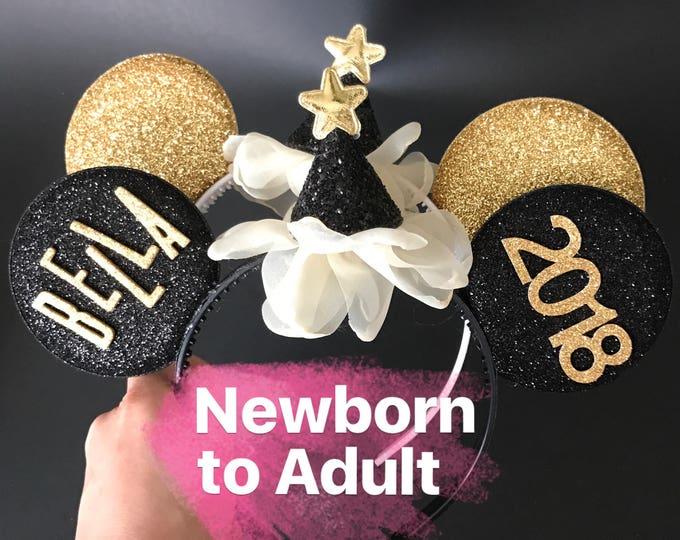 2018 New Years Minnie Ears,Personalized Minnie Ears,Minnie Ears elastic Headband,Black and Gold Minnie Mouse Ears,New Years Photo prop