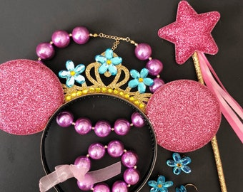 Disney Fancy Nancy Minnie Ear,Fancy Nancy Necklace,Fancy Nancy Costume,Fancy Nancy Tiara,Fancy Nancy headband,flower crown,Mini,Mickey Ear