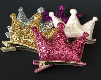 Crown Hair Clip,Glitter Crown Hair Clip,Glitter Hair Clip,Birthday crown,glitter crown,party crown,party favor,disney hair clip,felt crown