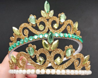 Disney Tiana Crown,Tiana Elastic Headband,disney princess crown,Princess and frog crown,green crown,frog princess crown,princess Tiana Crown