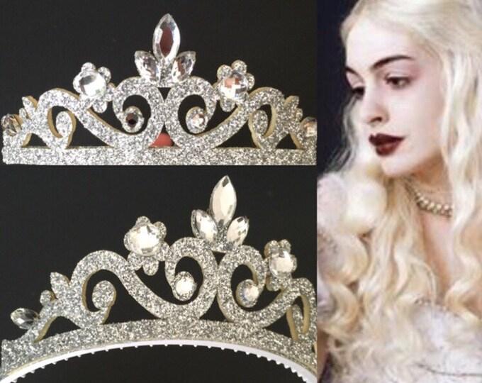 White Queen Crown,Alice in Wonderland,Tiara for Kids,White Queen Costume,disney princess crown,Silver crown,Snow Queen Crown,Snow princess