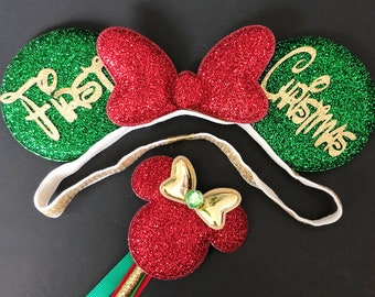 Christmas Minnie Ears,Minnie Ears elastic Headband,Christmas Mickey Ears,Holiday Mickey Ears,Christmas Photo prop,Personalized Ears,Santa