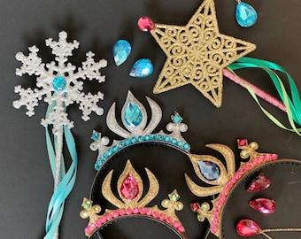 Elsa Crown Set,Anna Crown Set,Anna Wand,Snowflake Wand,Anna Scepter,Anna Costume,Anna Dress,Elsa Scepter,Birthday crown,Winter Wonderland