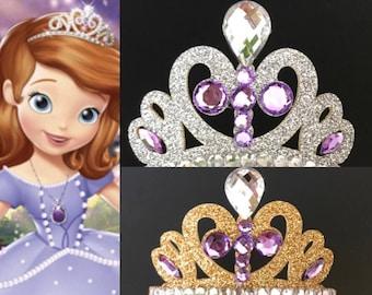 Princess Sofia Crown,Sofia The First theme,Princess Sofia Headband,Sofia costume,Sofia Elastic Headband,birthday crown,crown headband