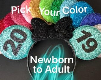 2019 Minnie Ear,2019 Mickey Ear,Mint Minnie Ear,Personalized Minnie Ear,Customizable Mickey Ear,Minnie Elastic Headband,Gold and Black Ear