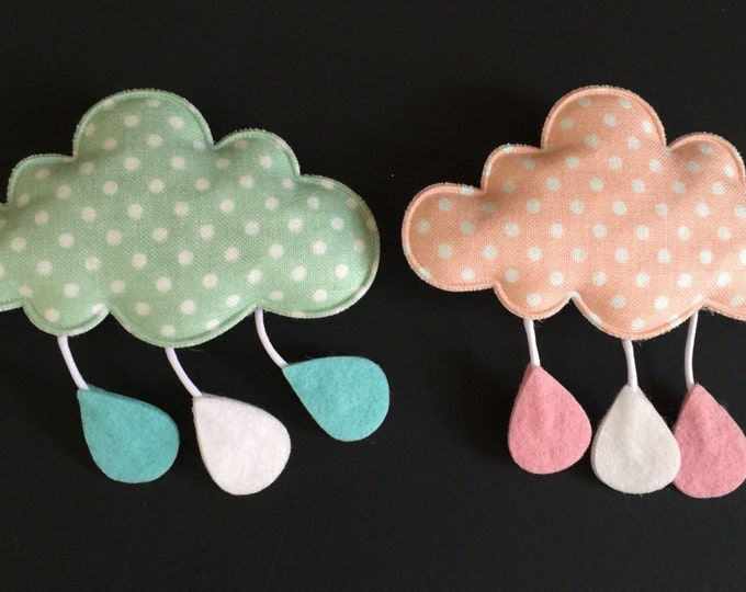 Cloud Hair Clip,Cloud shape accessories,Toddler Hair Barrette,toddler hair accessories,puffy cloud Hair Clip,Polka dots Hair Clip,pink