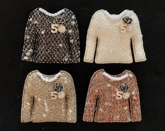 Coco No.5 Tweed Brooch,luxury brooch,tweed jacket,CC Style brooch,unique brooch,Runway broche,pin,pins,push pins,tweed style jacket,Black