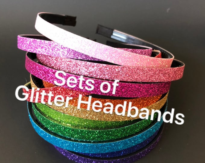 Glitter Headband Set,Headband Set,Ready for school,back to school headband,Plastic Headband,DIY supply,DIY Headband,Plastic headband,rainbow