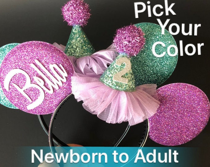 Ariel Minnie Ears,Personalized Minnie Ears,Customized Ears,Custom Ears,Baby Birthday Minnie Ears,Minnie theme,Mouse Ears,Mermaid Minnie Ears