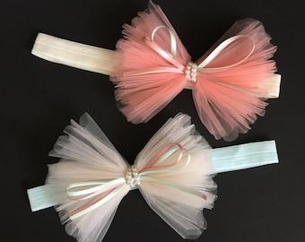 Tulle Bow Headband,Large bow Baby Headband,Ruffle bow,baby shower gift,first birthday,birthday girl,1 year birthday,flower girl,peach bow