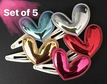 Snap Clip Set,Glitter heart,Little Girls Hair Clip,heart shape,hair snap clip,glitter hair clip,hair clip set,pink heart,Aqua blue heart