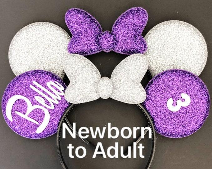 Purple Minnie Ears,Sofia Minnie Ear,Personalized Ear,Mickey Headband,Mouse Headband,monogram Ear,party favor,disney headband,Princess Sofia