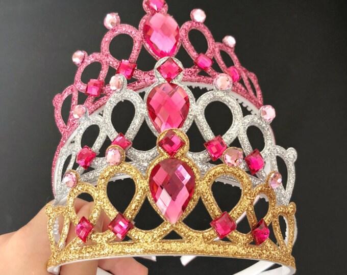 Disney Aurora Crown,Aurora Elastic Headband,Rose Gold Crown,sleeping beauty crown,Princess Aurora Tiara,Aurora dress,aurora costume outfit