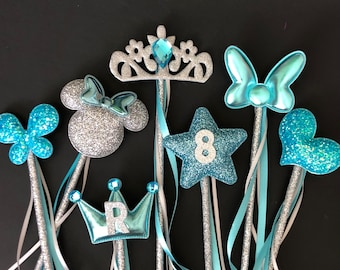 Cinderella Wand,Elsa Wand,Elsa outfit,birthday Wand,baby photo prop,name wand,personalize wand,custom wand,Blue,Silver,dress,crown,earrings