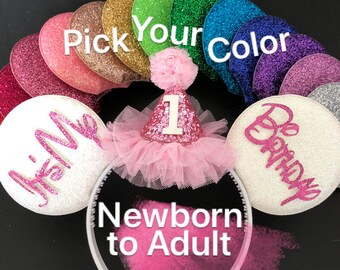 Pink Birthday Minnie Ears,Birthday Mickey Ears,Disney,Minnie Birthday Hat,Personalized,Customized,Ears Headband,Minnie Elastic Headband