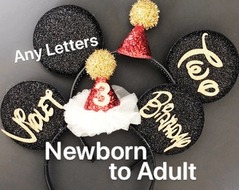 Mickey & Minnie Ears,Birthday Mickey Ears, Birthday Minnie Ears,Personalized Ears,Customized Ears,Ears Headband,Minnie Elastic Headband,