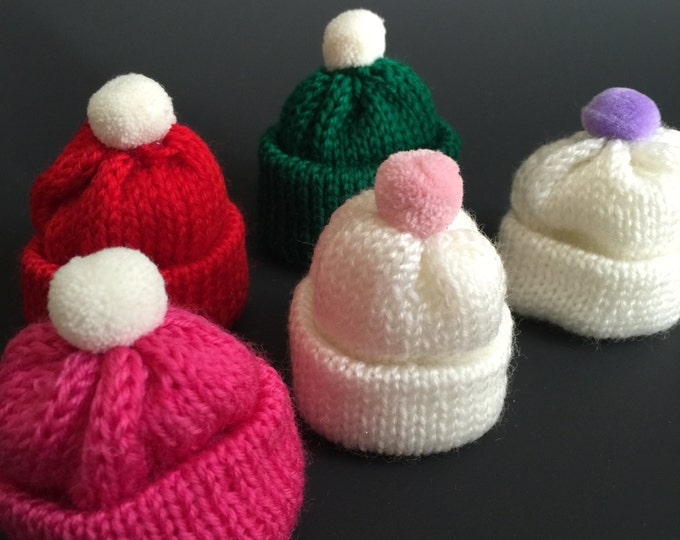 SALE!,Knitted Hat Hair Clip,Knit Bobble Mini Hat,Winter Hat,Baby Hair Clip,Girl Hair Clip,Toddler Hair Clip,Kids hair clip,Cone Hat,mini hat