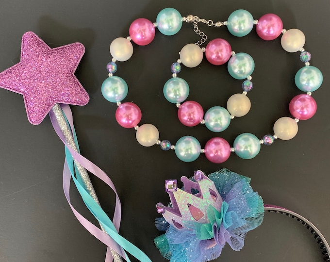 Ariel Necklace,Bracelet,The Little Mermaid crown,Birthday Hat,Ariel Crown,Ariel Wand,Mermaid Headband,disney princess crown,Purple and blue