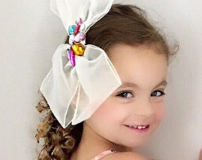 Large Bow,flower girl hair bow,cream color bow,wedding hair bow,birthday favor,tulle bow,Layered bow,Ruffle hair bow,see through hair bow