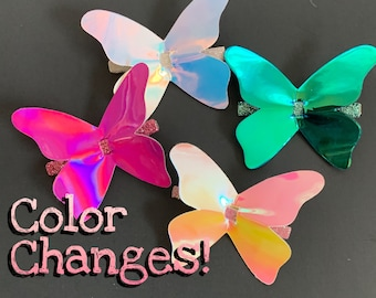 Rainbow Butterfly Alligator Hair Clip,Butterfly Hair Clip,hair clip set,glitter butterfly,gold,white,blue, teal,green,pink,Gift for girl