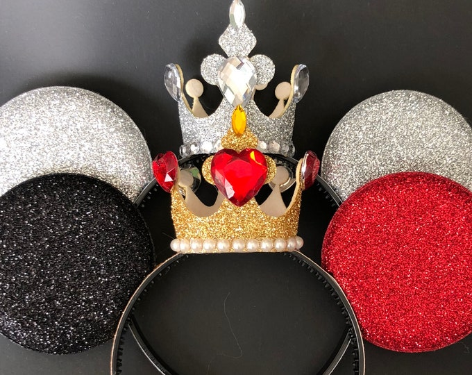 Queen Of Hearts Minnie Ears,White Queen Minnie Ear,Queen Of Hearts Crown,Queen of hearts costume,Alice in wonderland,Queen of hearts  outfit