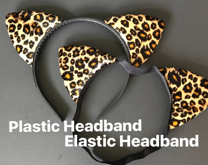 LEOPARD Ear HEADBAND,Mommy and me Cat Ears,Kitty cat cosplay,Cat Ear Headband,Baby leopard Ears,Cat elastic Headband,Halloween leopard Ears,