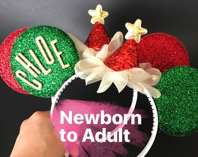 Christmas Minnie Ears,Personalized Minnie Ears,Minnie Ears elastic Headband,Red and Green Minnie Mouse Ears,Christmas Photo prop