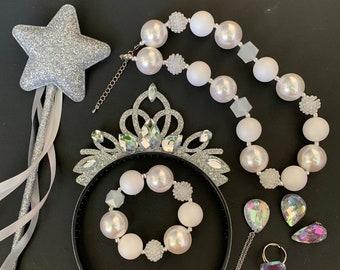 White Queen Crown Set,Alice in Wonderland,White Queen Tiara,White Queen Costume,White Queen Headband,Snow Queen Crown,Baby Elastic Headband