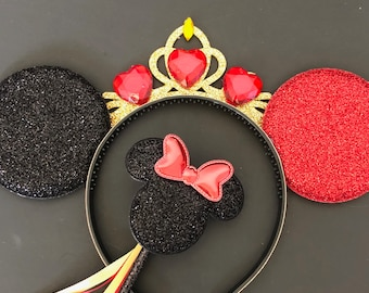 Queen of Hearts Minnie Ear,Alice in Wonderland Headband,Harley Quinn Minnie Ear,Halloween Minnie Ear,evil villain,Red and Black Mickey Ears