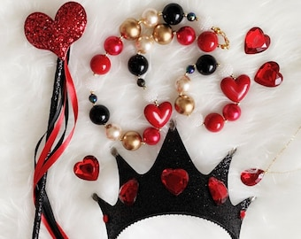 Queen Of Hearts Crown Set,Black Crown,Alice in wonderland Queen Crown,Queen Of Heart Costume,Red Queen Crown Headband,Devil,Gold and Red