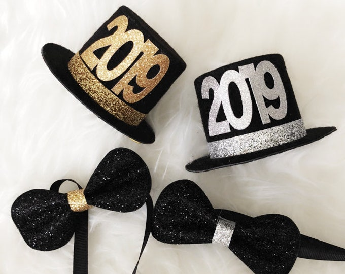 New Years Eve Party Hat,Happy New Year,2019 Hat,Black and Gold,NYE Party,Party Hats for New Years Eve,newborn photo prop,Newborn Top hat,