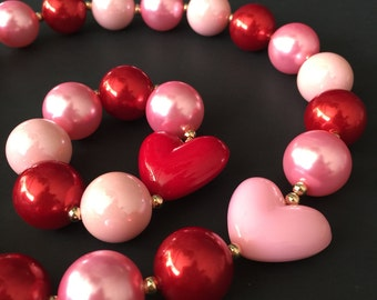 Pink and Red Necklace,Valentines Chunky Necklace,Pink and Red Chunky Necklace,Pink and Red Bubblegum necklace,Red baby necklace,red theme
