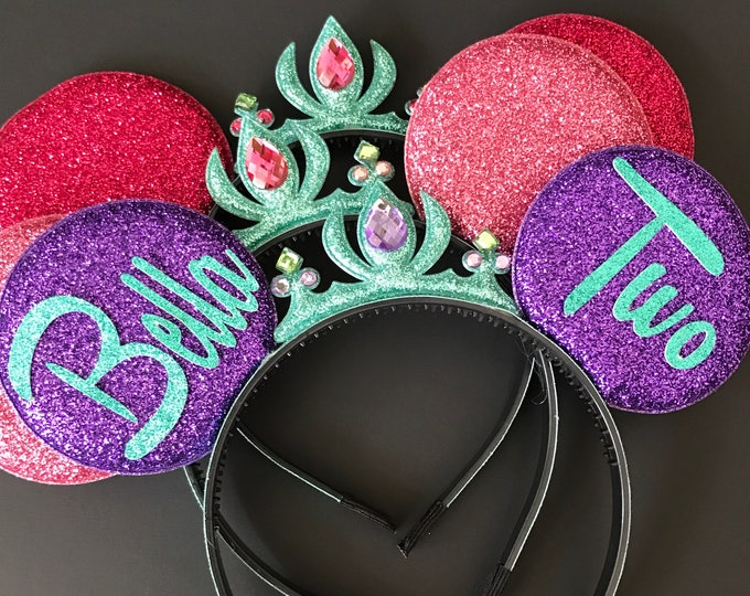 Ariel Minnie Ears,Ariel Crown Minnie Ears,First Birthday  Minnie Ears,one year birthday,1 year,1st,Ariel Minnie Headband,Mermaid Mickey Ears