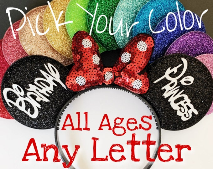Birthday Minnie Ears,Porka dots,Red Bow Minnie Ears,Customized Mickey Ear,Personalized  Ear,Minnie Elastic Headband,Baby Minnie Ear,Mini ear