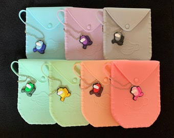 Among US Antibacterial Face Mask Case,Soft Silicon,Keep Mask Clean,,Purse,Square,Adult,Child,Pink,Clear,White,Sky Blue,Mint,Gray
